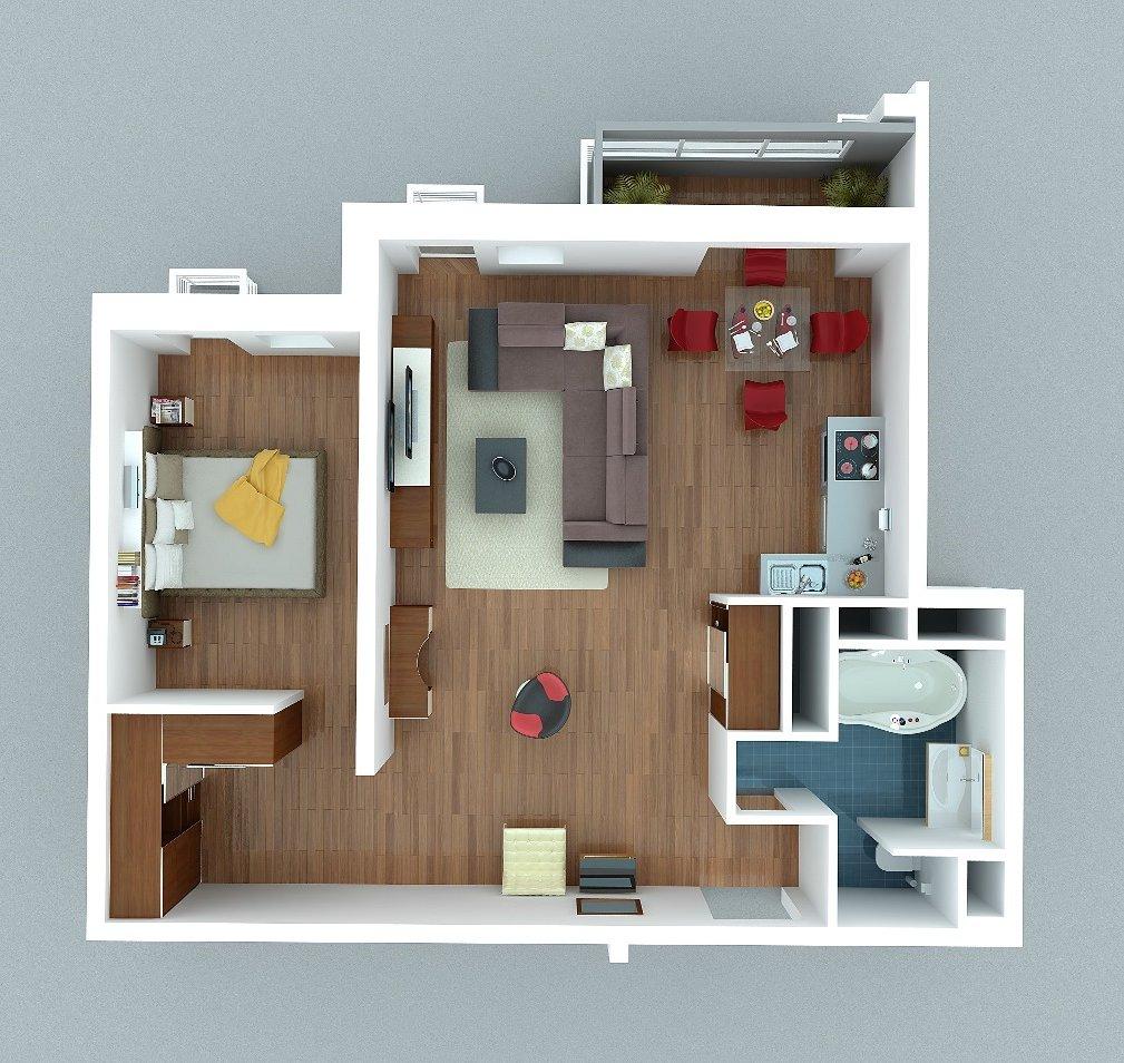 Однокомнатная квартира дизайн свободной планировки