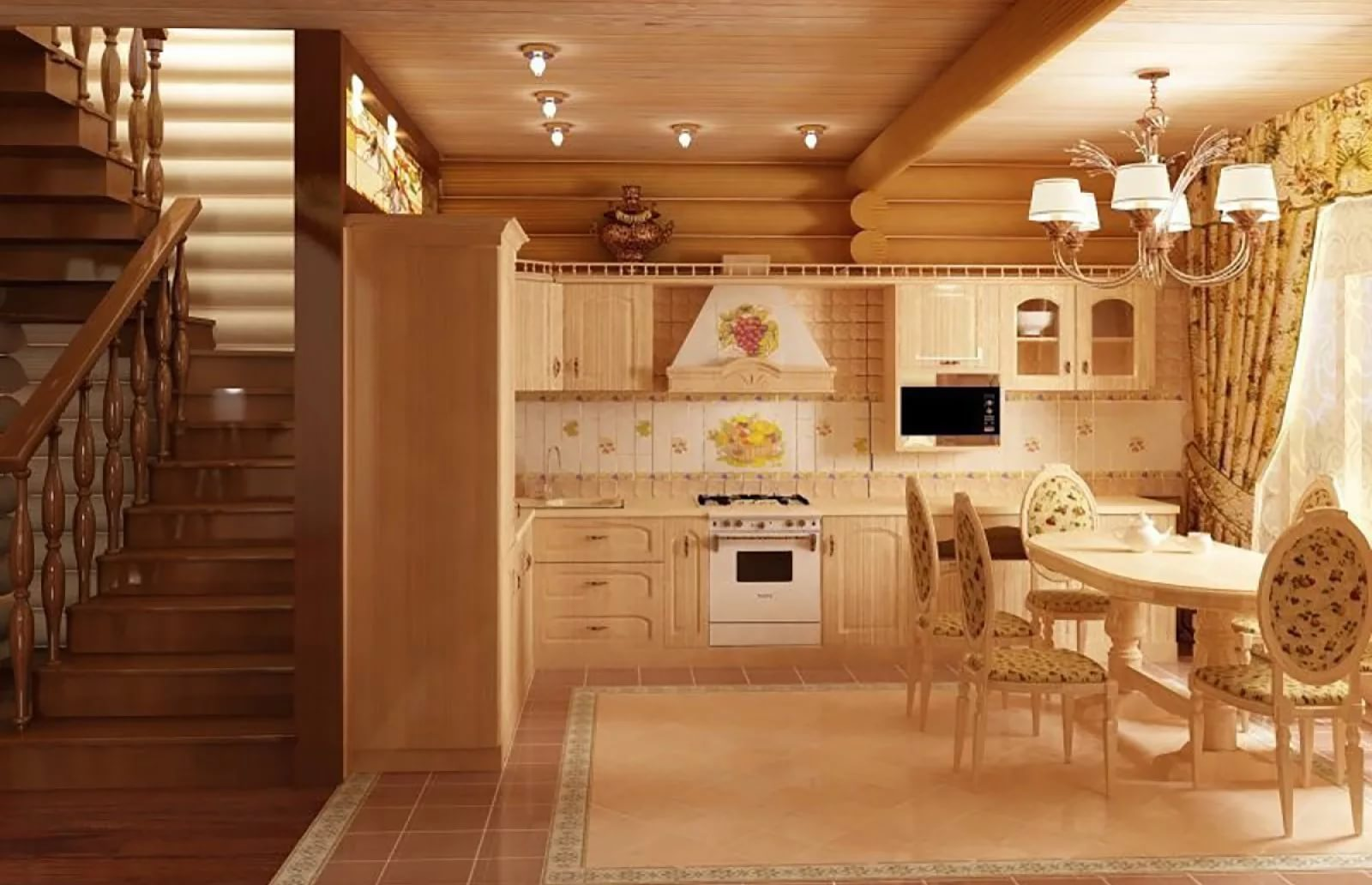 Дизайн кухни деревянного дома внутри