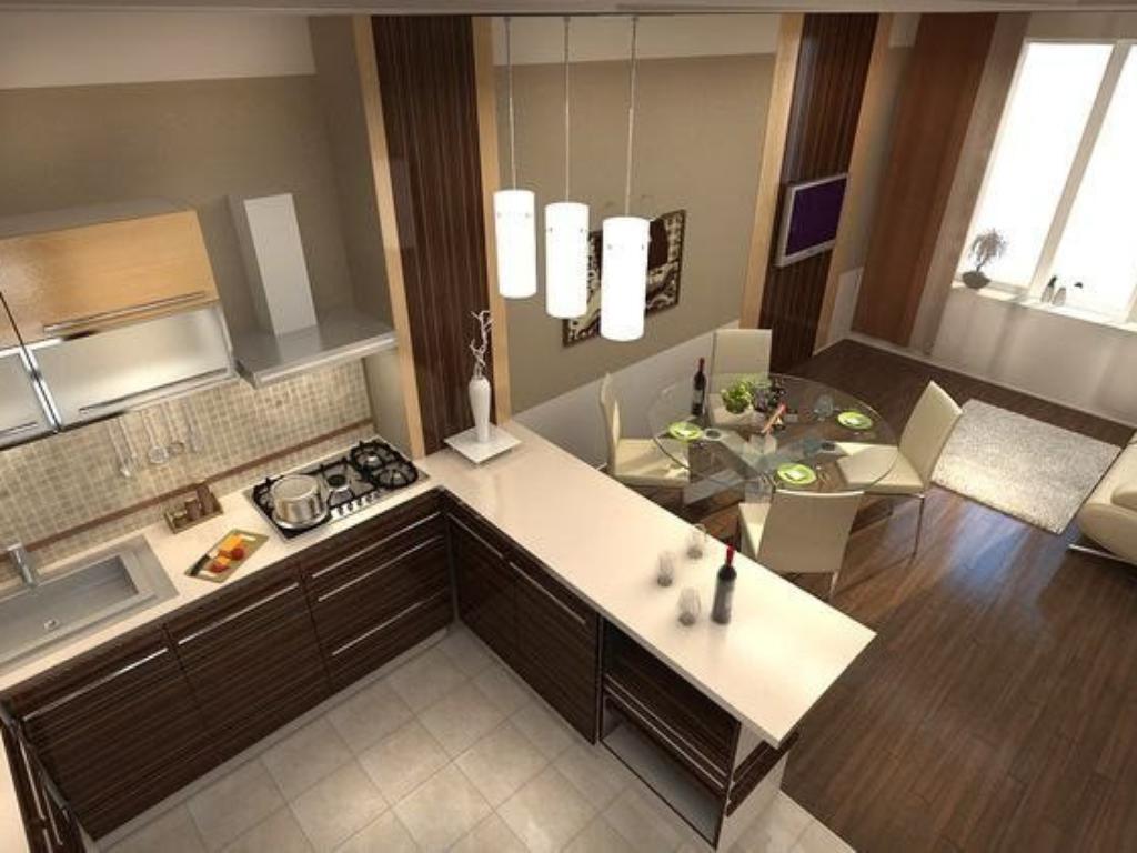 Дизайн маленьких кухонь гостиных