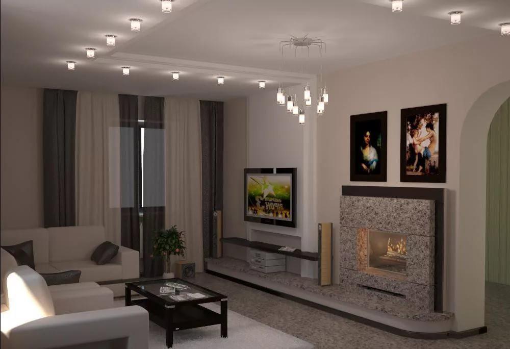Дизайн гостиной комнаты 15 квм с камином