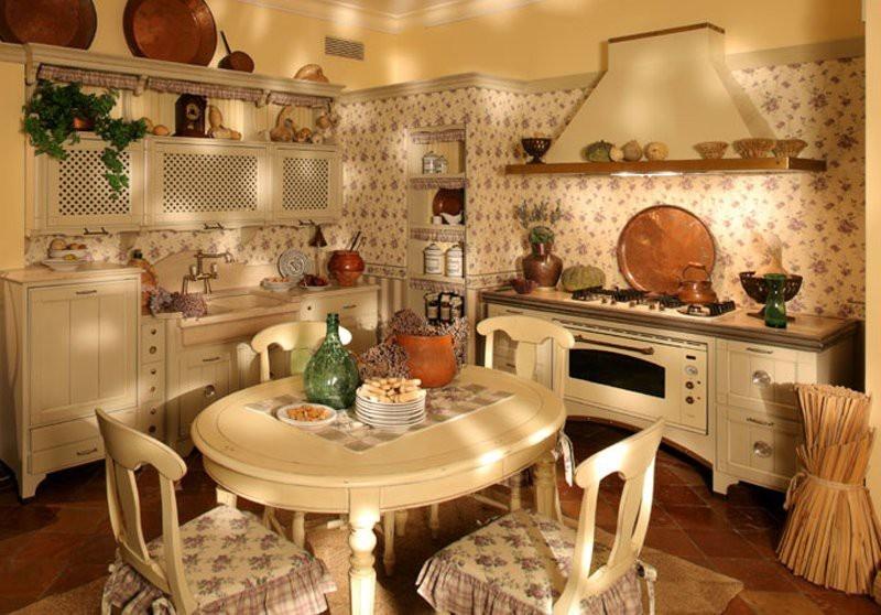 Стиль кантри в интерьере маленькой кухни фото