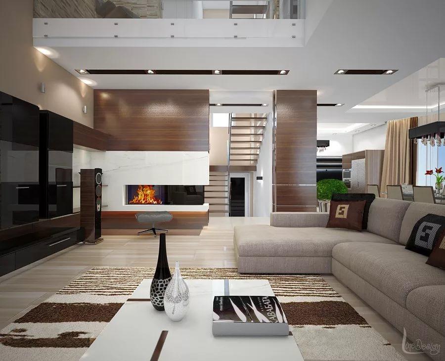 Фото дизайна кухни-гостиной в коттедже