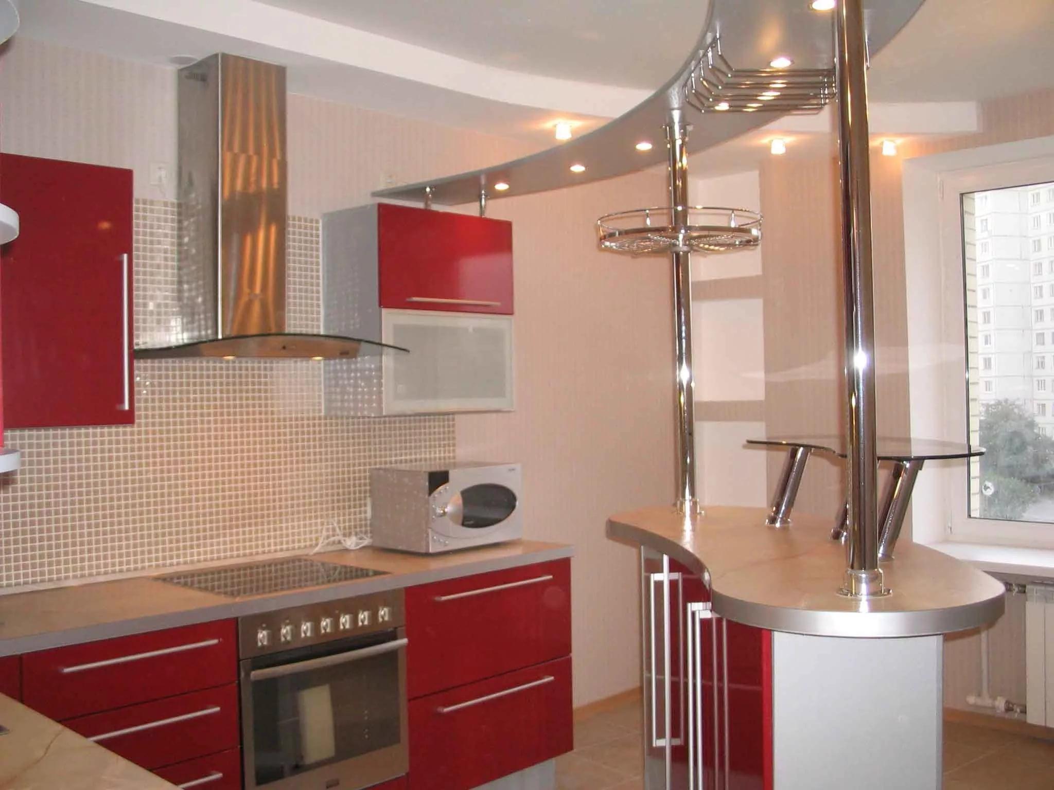 Барная стойка на маленькой угловой кухне