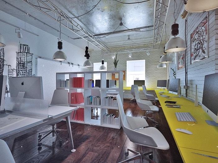 Белая мебель в интерьере офиса