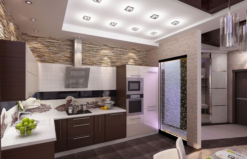 Бытовая техника на совмещенной с гостиной кухне