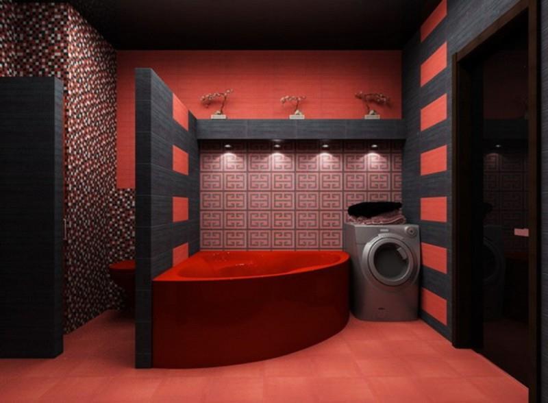 Ванная в красных и черный для крупных тонах