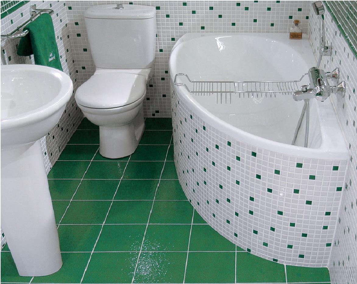 Ванная отделанная обычным кафелем