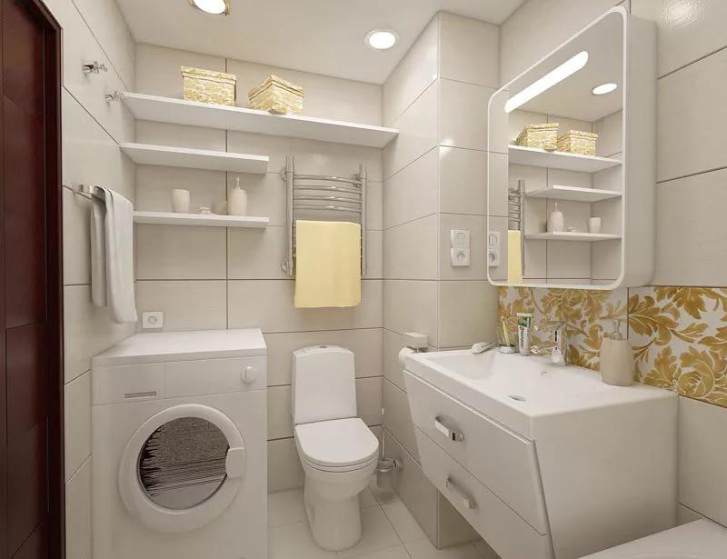 Ванна в квартире-студии 25 кв. м