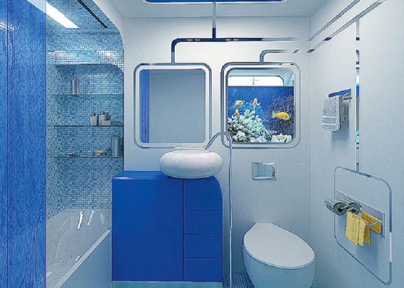 Ванна в хрущевке в голубых тонах