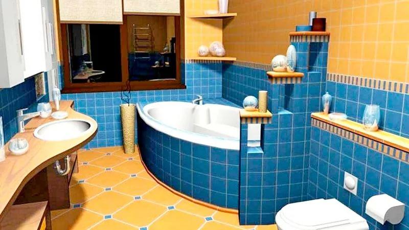Ванна с туалетом в синих тонах