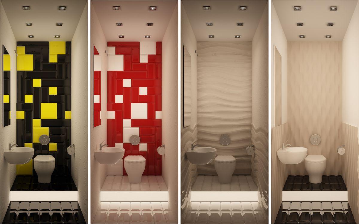 Варианты дизайна туалета в разных цветах
