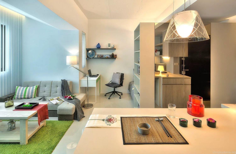 Вариант визуального зонирования квартиры-студии 25 кв. м