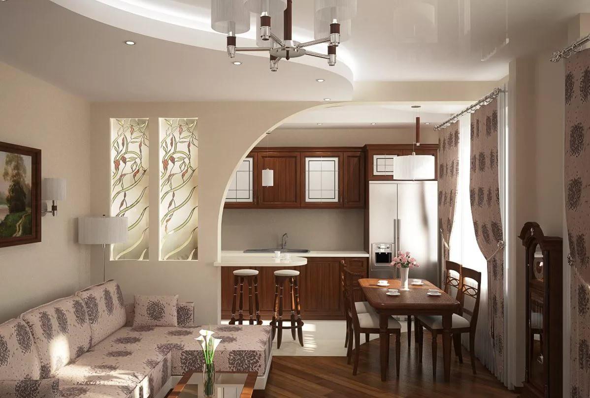 Вариант зонирования гостинной и кухни 12 кв.м.