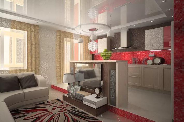 Вариант зонирования гостиной-кухни тумбой