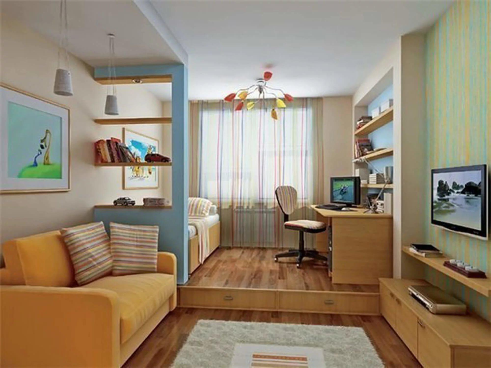 Вариант зонирования однокомнатной квартиры