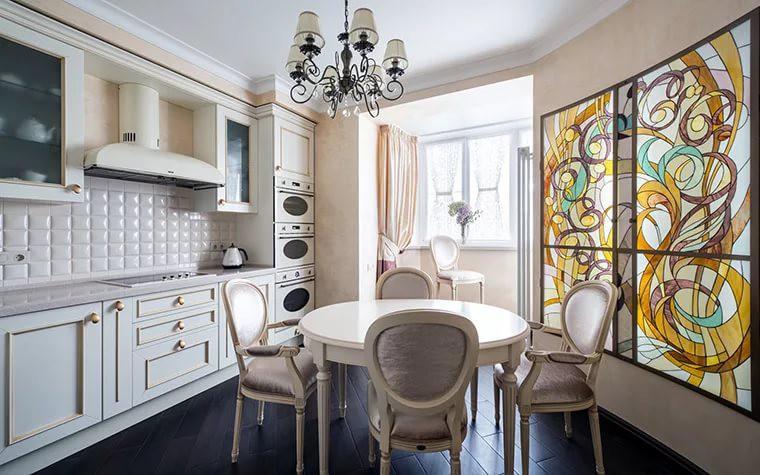 Вариант интерьера кухни 9 кв. м. совмещенной с балконом