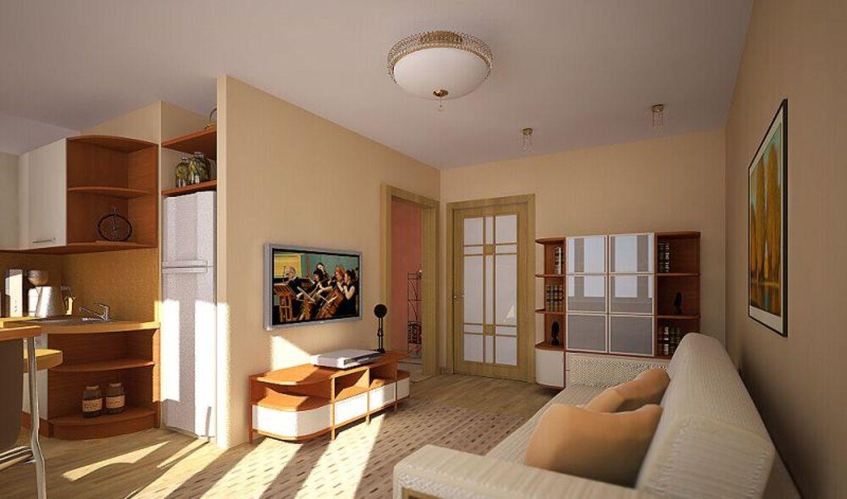 Гостиная совмещенная с кухней в хрущевке: подборка из 10 фот.