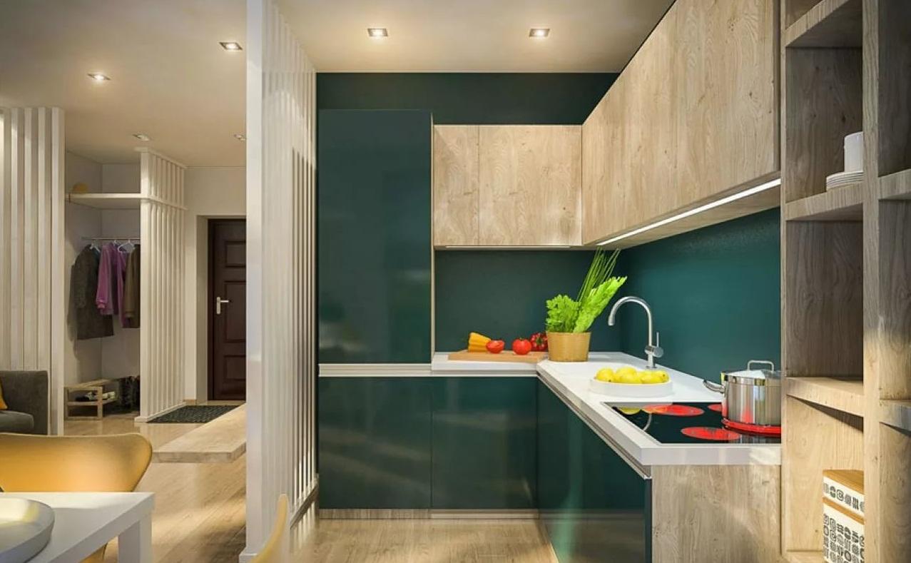 Вариант отделки кухни в двухкомнатной квартире