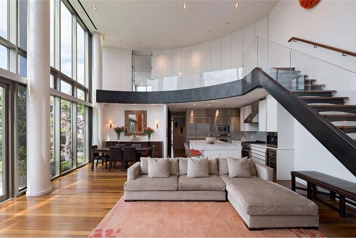 Вариант оформления двухуровневой квартиры в стиле хай-тек