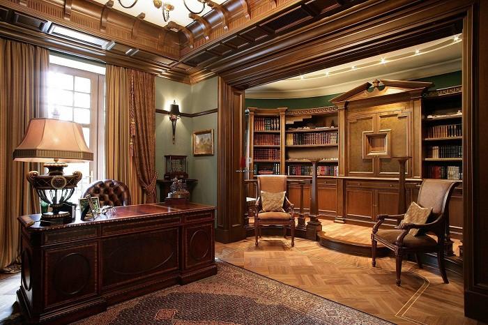 Вариант оформления кабинета в английком стиле