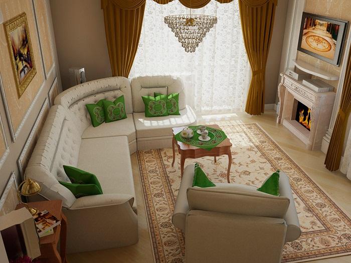 Вариант оформления однокомнатной квартиры в классическом стиле