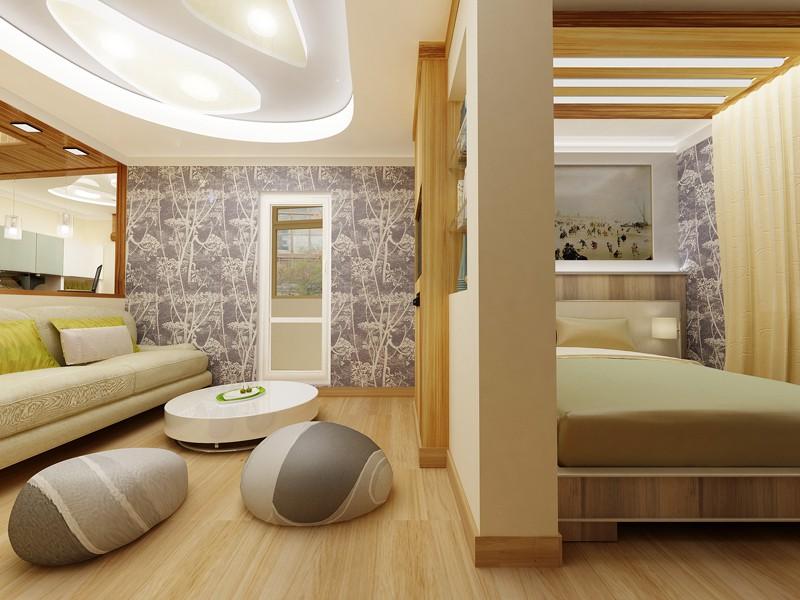 Вариант оформления спального места в квартире-студии 25 кв. м