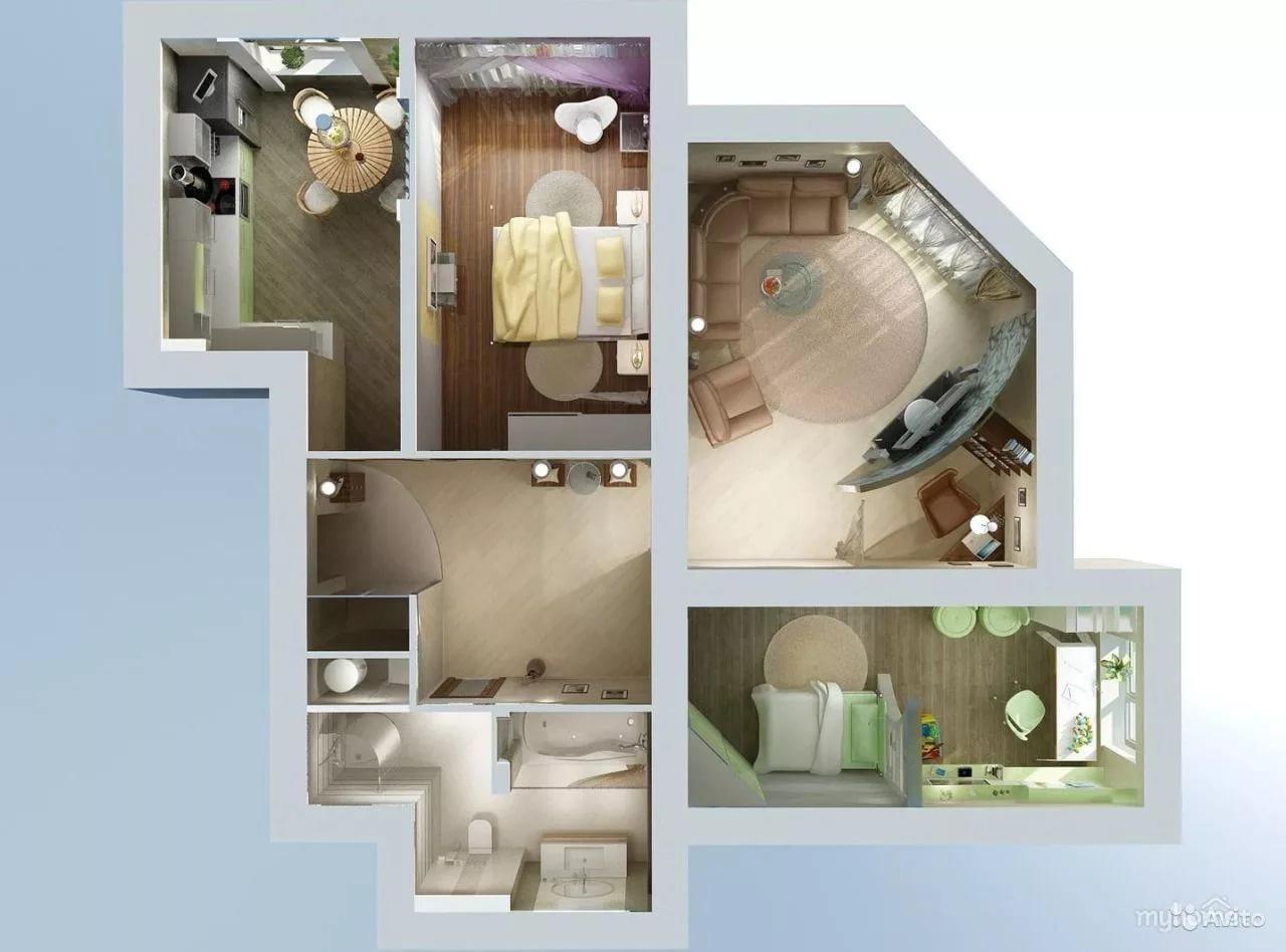 Вариант планировки квартиры в новостройке