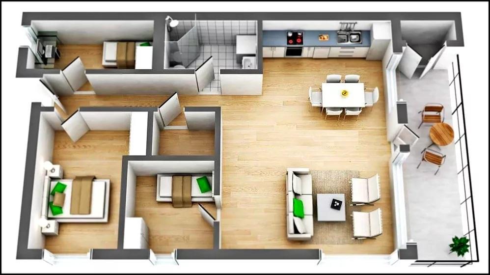 Вариант планировки первого этажа котеджа