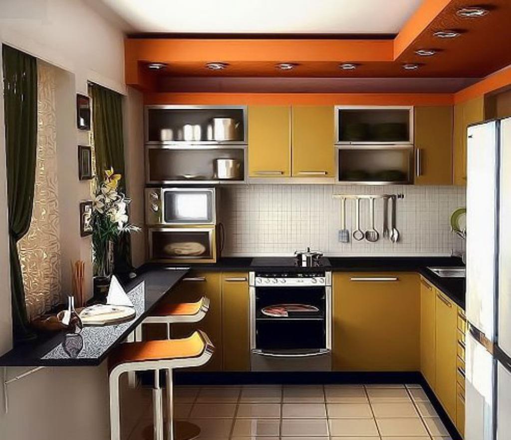 Вариант размещения мебели и техники на кухне