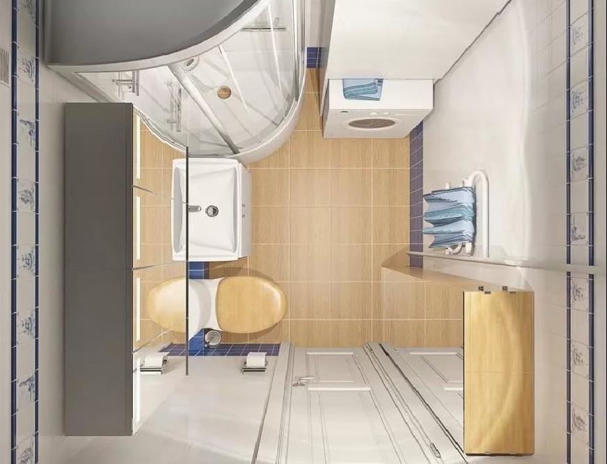 Вариант размещения сантехники и мебели в ванной в хрущевке