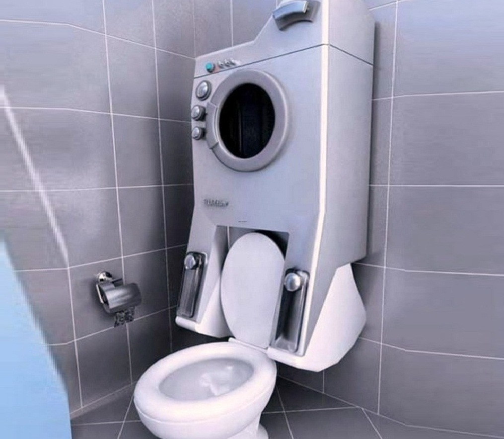 Вариант размещения стиральной машинки в маленькой ванной