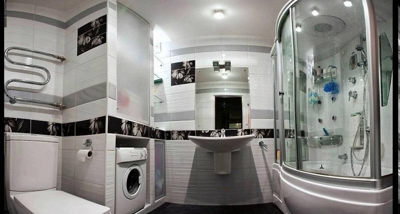 Вариант размещения техники и мебели в небольшой ванной