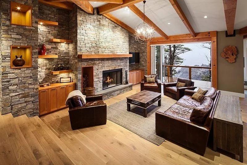 Вариант расстановки мебели в гостинной котеджа