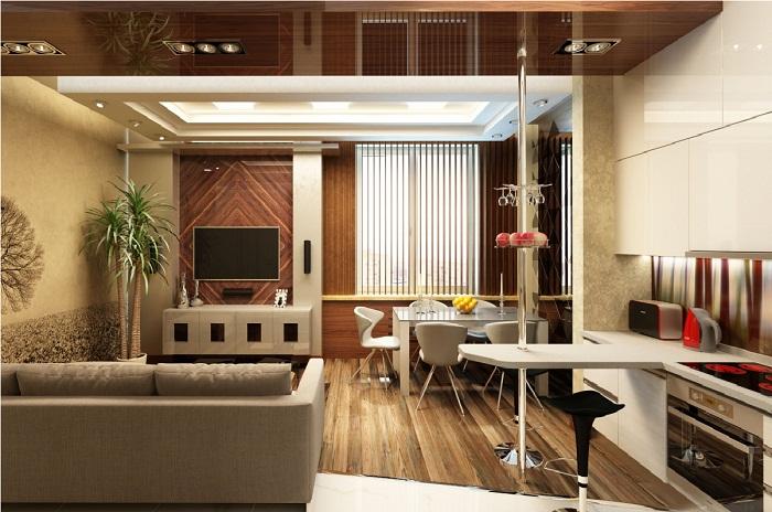 Вариант расстановки мебели в кухне совмещенной с гостиной