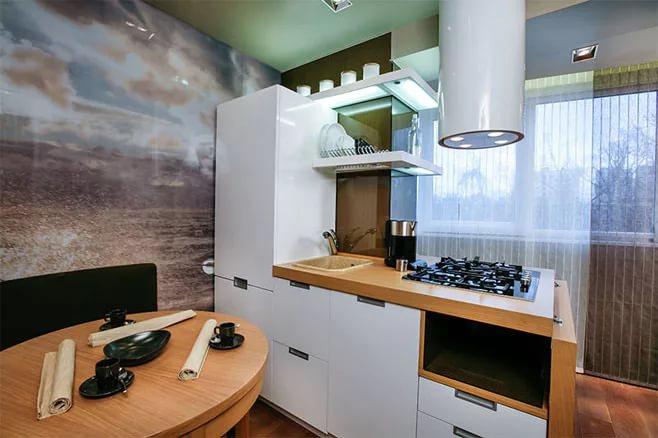 Вариант совмещения кухни и балкона