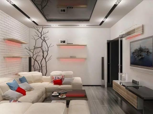 Вариант цветового оформления гостинной 15 кв.м