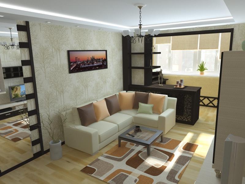 Варина объединения гостиной и спальни