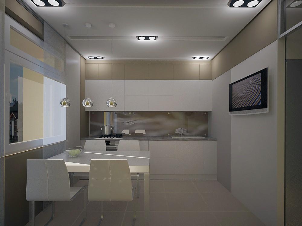 Визуальное увеличение потолка на кухне 9 кв. м.
