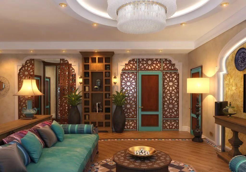Восточный стиль в интерьере гостиной 20 кв.м