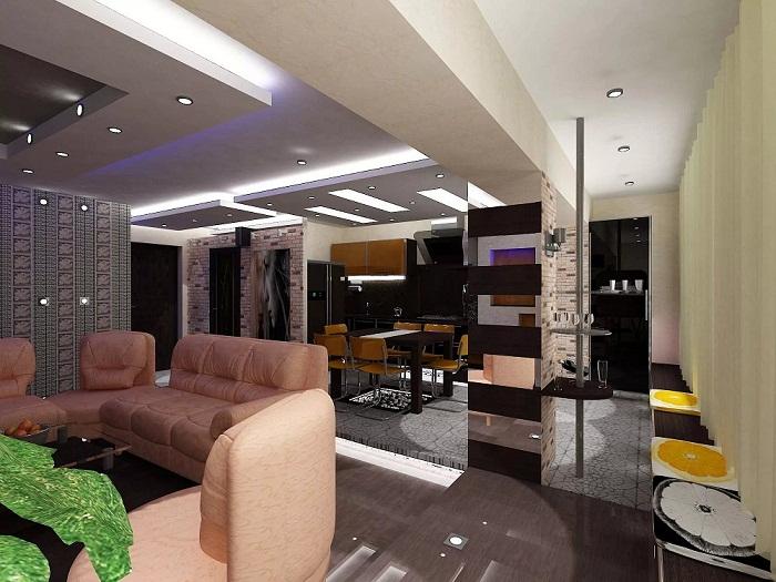 Встроенное освещение в двухуровневой квартире в стиле хай-тек