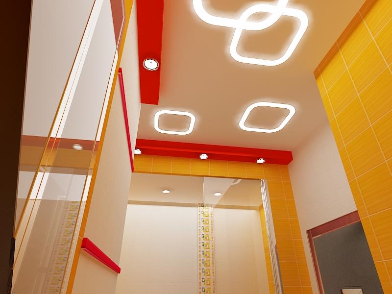 Встроенное освещение в натяжном потолке санузла