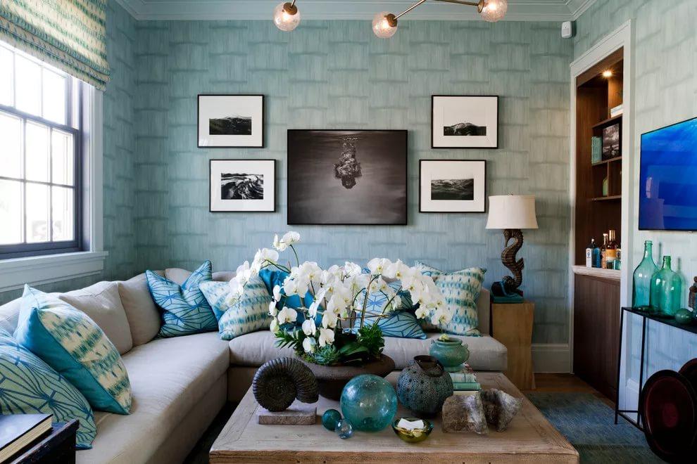 Выбор цвета гостинной 15 кв.м южное окно – голубой, зеленый