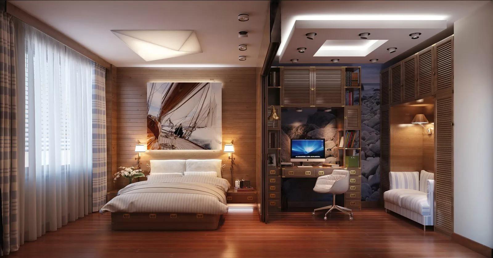 Выделение рабочей зоны в спальне