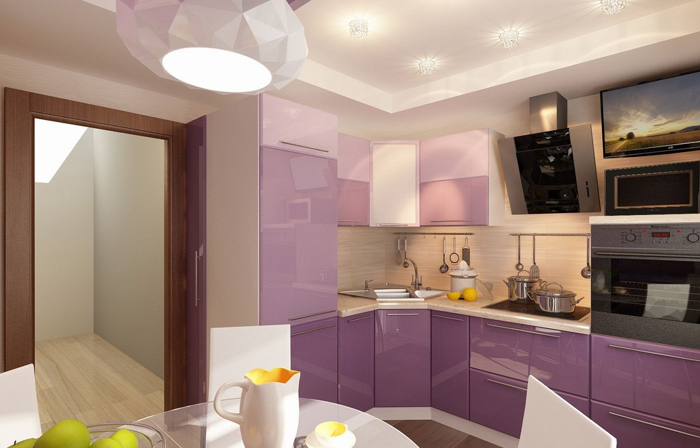 Выделение светомфункциональных зон кухне в двухкомнатной квартире