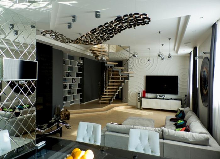Выделение функциональных зон в двухуровневой квартире