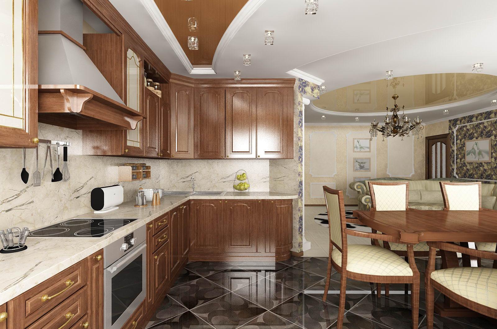Вытяжка в интерьере кухни совмещенной с гостиной