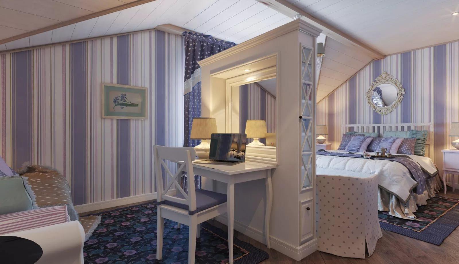 Гостиная совмещеная со спальней в стиле прованс