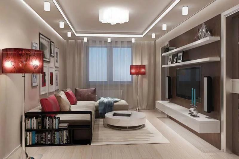 Гостиная 18 кв.м в строгом стиле