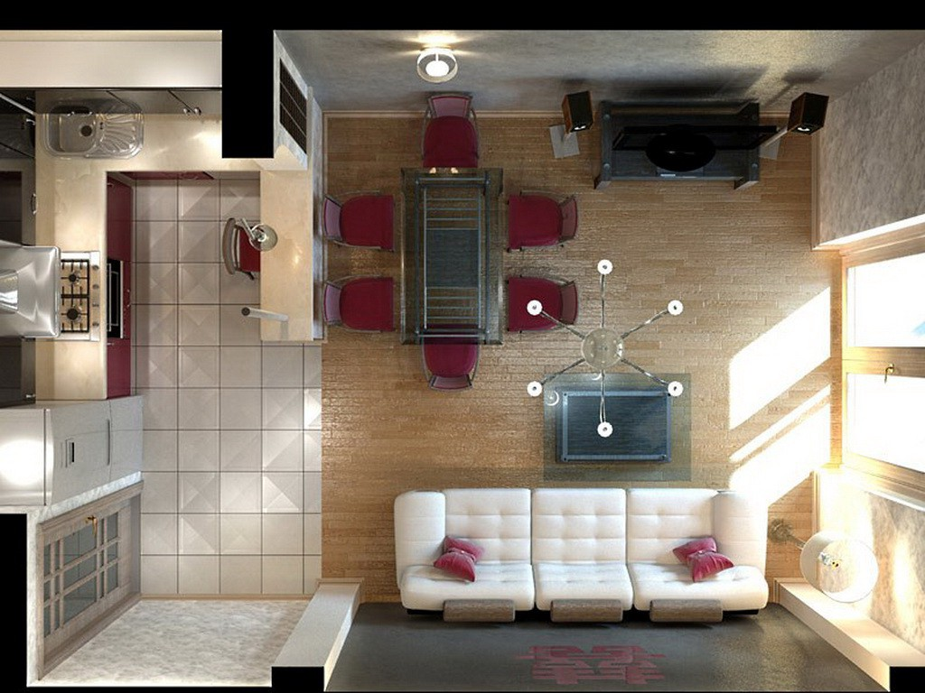 Гостиная 18 кв.м совмещенная с кухней