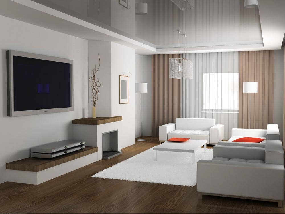 Гостиная 20 кв.м в светлых тонах стиль минимализм